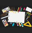 colored flat design of art supplies and art vector image vector image