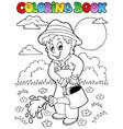 coloring book garden and gardener vector image vector image