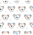 cute bear heads and stars seamless pattern vector image vector image