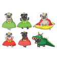cute fairytale pugs vector image vector image