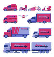 delivery vehicles collection cargo shipping vector image vector image