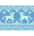 Embroidery blue Christmas pattern vector image vector image