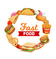 fastfood bistro burgers sandwiches and desserts vector image vector image