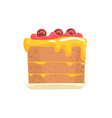 festive cake with cherries sweet dessert cartoon vector image