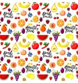 Fresh fruits flat style seamless background vector image