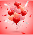 happy valentines day red pink and orange balloon vector image vector image