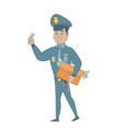 hispanic policeman with briefcase full money vector image vector image