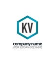 initial letter kv hexagon box creative logo black vector image vector image