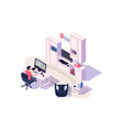 isometric 3d cozy workplace with businessman vector image