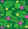 jungle leaves rainforest cute seamless pattern vector image vector image