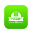 learning stationery icon green vector image vector image