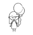 line beauty girl with balloons and hairstyle vector image vector image