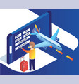 man booking airplane tickets isometric artwork vector image