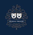 musical theatre mono line banner vector image vector image