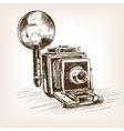 Old photo camera sketch style vector image