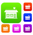 one storey house with two windows set collection vector image vector image