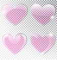 pink heart made of glass realistic flat heart vector image