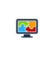 puzzle computer logo icon design vector image