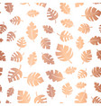 rose gold foil leaves seamless background vector image vector image