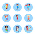 schoolchildren with accessories for studying set vector image
