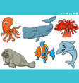sea life cartoon animal species characters set vector image vector image