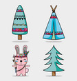 set cute animal tribal in the forest vector image vector image