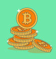 set of golden coins with bitcoin sign in flat vector image