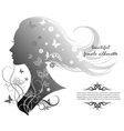 silhouette of a beautiful woman with long hair vector image
