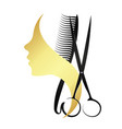 silhouettes girls and scissors with a comb vector image vector image