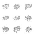 slang in speech bubble icons set outline style vector image vector image