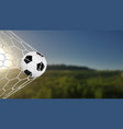 soccer or football banner with 3d ball on green vector image vector image