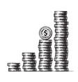 stacks coins with dollar sign coin on top vector image vector image