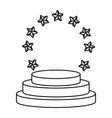 stars round emblem frame black and white vector image