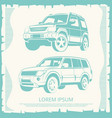 vintage poster with jeep cars design vector image vector image