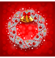 White Christmas wreath on red background vector image vector image