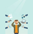 young caucasian man surrounded by his gadgets vector image vector image