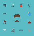 flat icons deodorant perfume hairbrush and other vector image