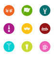 beer a day icons set flat style vector image