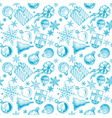 Blue Christmas background seamless tiling vector image