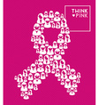 Breast cancer ribbon women think pink shape vector image vector image