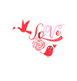 bright greeting card for valentines day with birds vector image vector image
