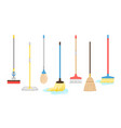 brooms and mops equipment vector image