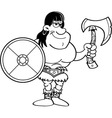 Cartoon barbarian with a shield and an axe vector image vector image