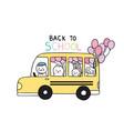 cartoon cute back to school animals and school bus
