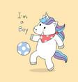 cartoon cute unicorn playing football vector image vector image