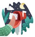 cartoon pop art red mailbox send letter comic vector image vector image