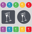 champagne glass icon sign A set of 12 colored vector image vector image
