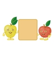 Character apples and poster vector image vector image