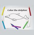 children dolphin coloring worksheet vector image