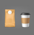 coffee bag and disposable cup design elements set vector image vector image